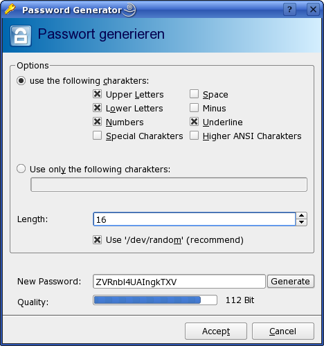 You choose the length and types of characters included in your password. KeePassX does the rest.
