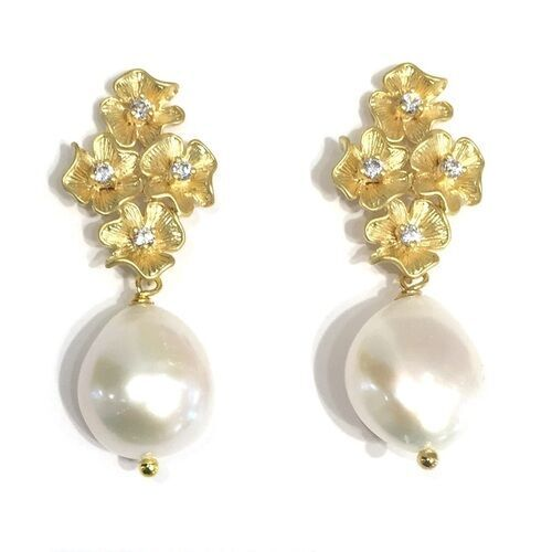 The Flora $98 per pair custom gemstones available   (Pearl shown here)