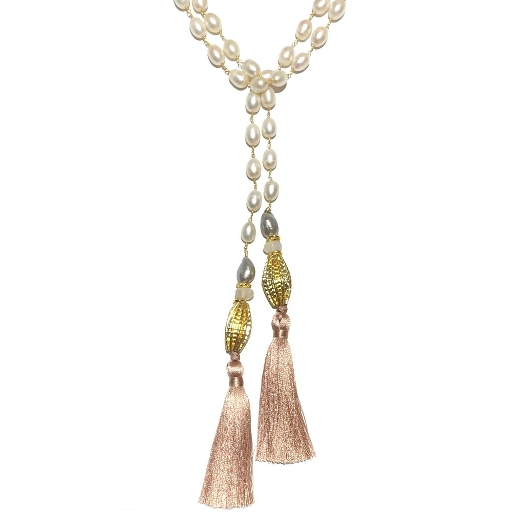 "Custom Pearl and Gemstone Lariats available- Shown here Mixed Pearl, Silk and Moonstone 48"" - $275 and up"