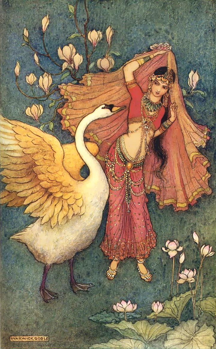 """Damayanti"". Artwork by Warwick Goble (1862-1943)"