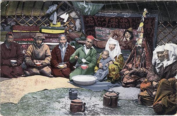 Kazakh family in a ger, 1911/1914, stolen shamelessly from Wikipedia