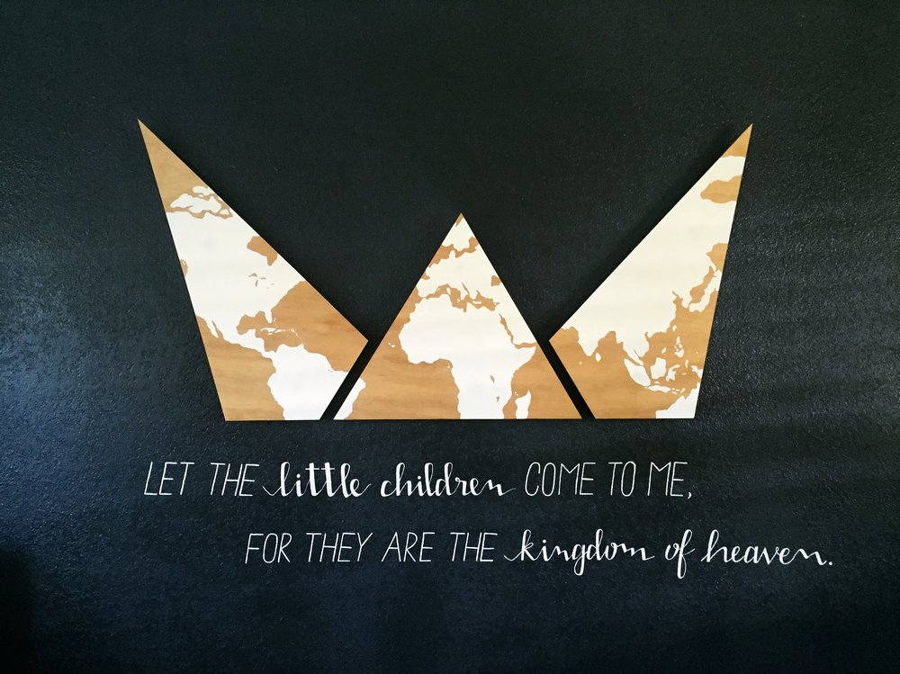 AFTER: Hand painted map on crown-shaped plywood with hand painted verse below.
