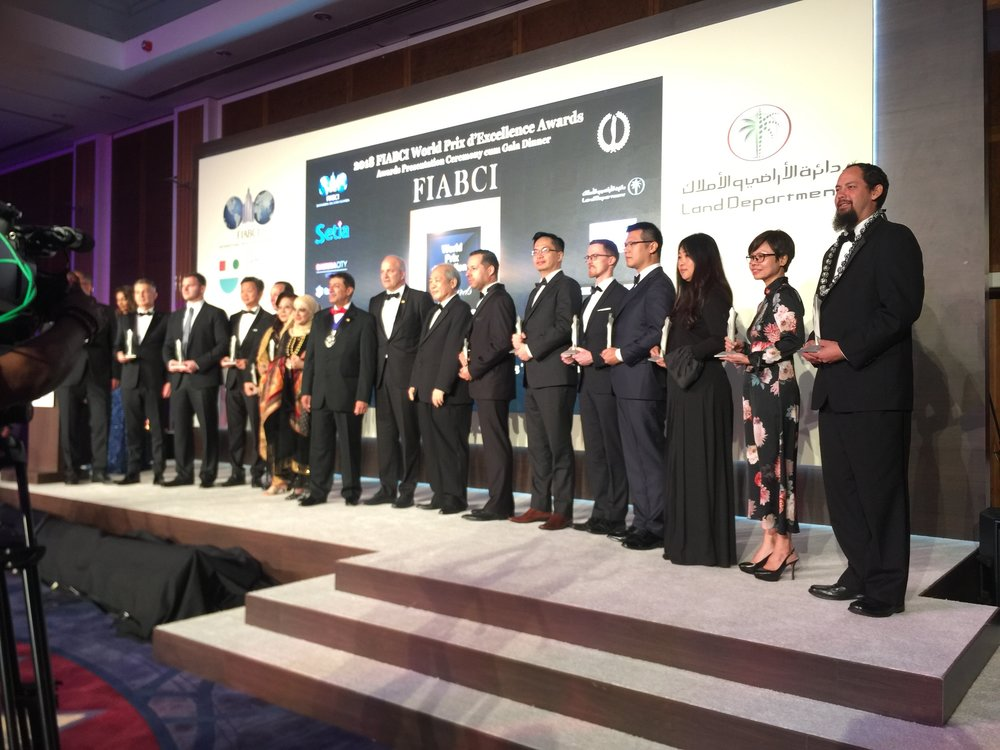 "They call it the ""Oscars of Real Estate"" awards. Aaron Ackerman, Bowers+Kubota receives the award at the 2018 World Prix d'Excellence Awards in Dubai, United Arab Emirates on May 1st 2018."
