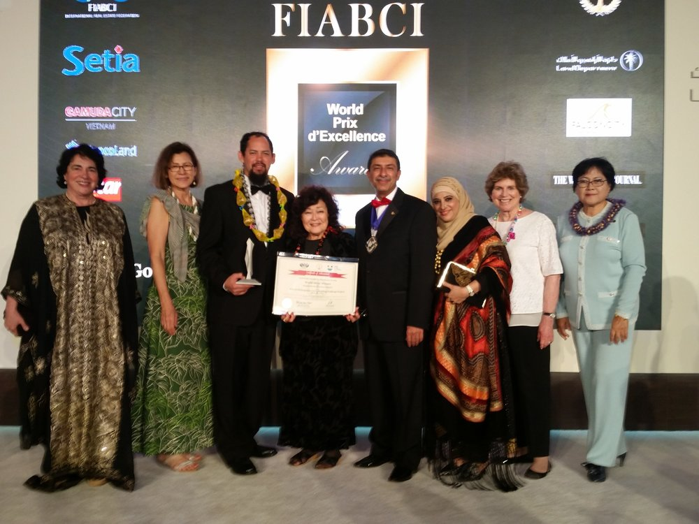 Aaron Ackerman, Bowers+Kubota with the FIABCI USA Hawaii Council accompanied here by the FIABCI World President 2017-2018 Mr. Farook Mahmoud, along with former World President Danielle Grossenbacher.