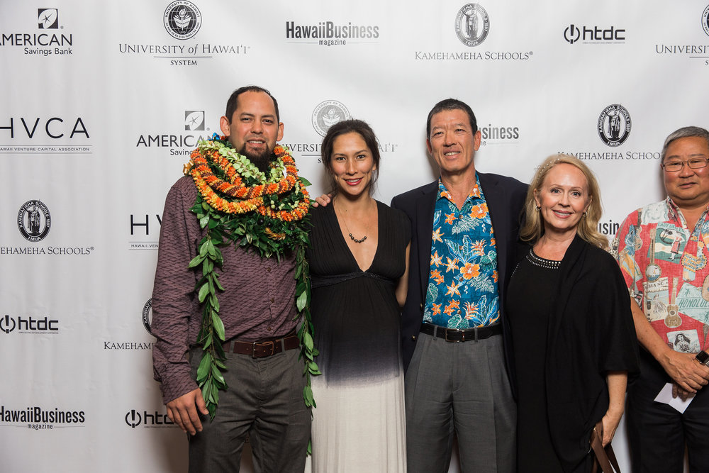 Pictured from left to right at the HVCA Awards: Aaron Ackerman (B+K Architect), Jessica Ackerman, Dexter Kubota (B+K President), Mary Kubota, Duane Kashiwa (Hawaii DOE).