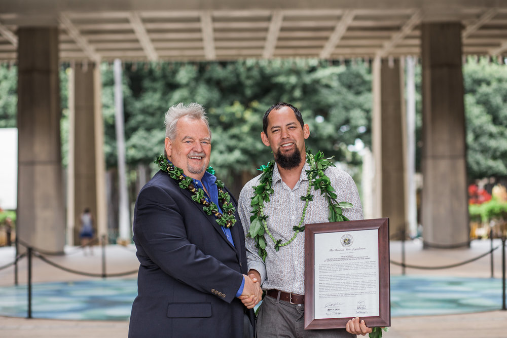 HVCA former President Bill Spencer photographed here with Aaron Ackerman of Bowers+Kubota at the Hawaii State Capitol on March 12, 2018