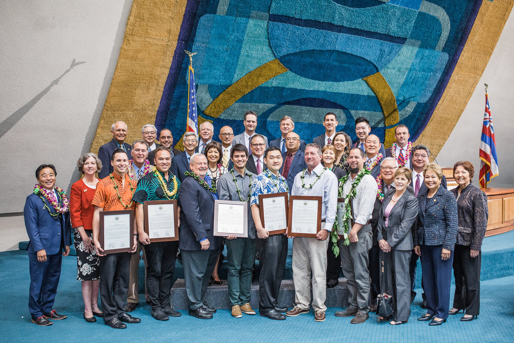 Bowers+Kubota Sustainability Architect Aaron Ackerman (4th from bottom right) pictured here with other Hawai'i Innovators being honored by the Hawaii State Senate on March 12, 2018.