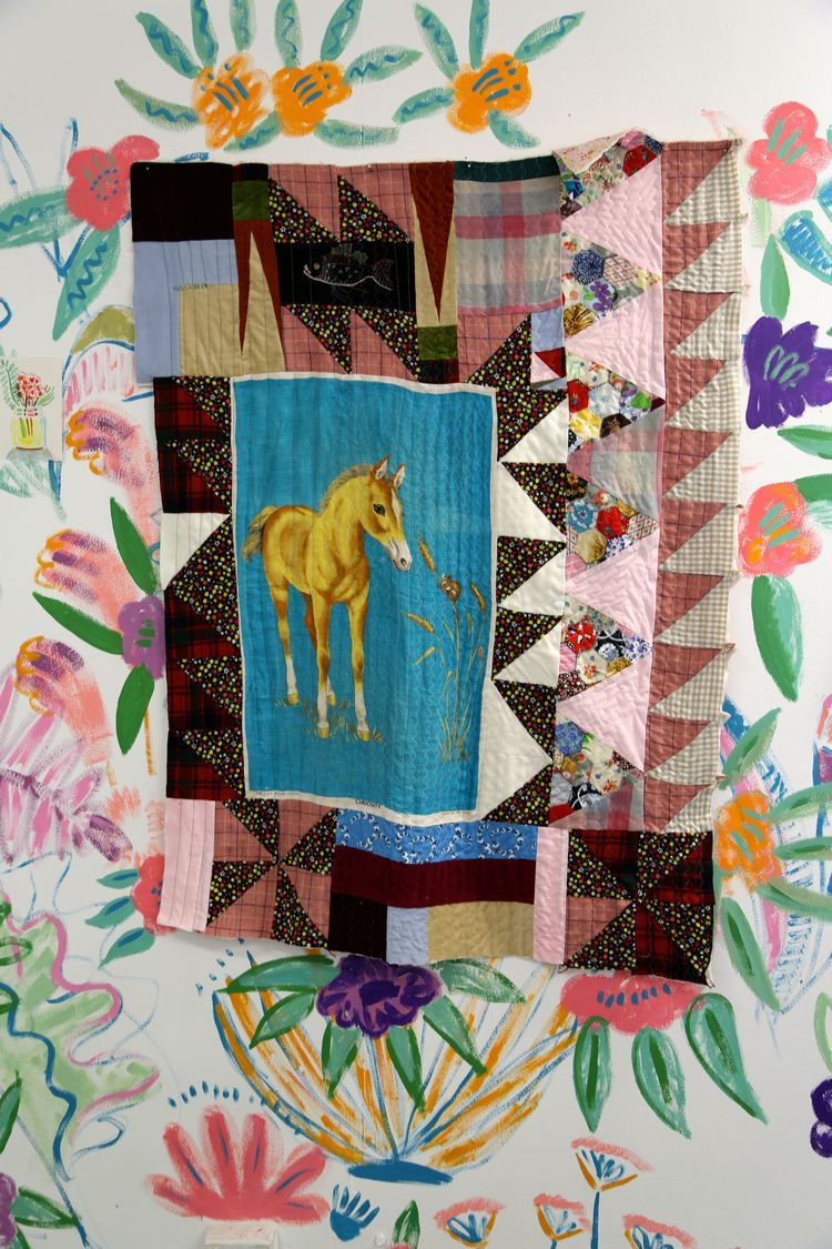 Fish and foal, 2014, installation, quilt, paint on wall, dimensions variable