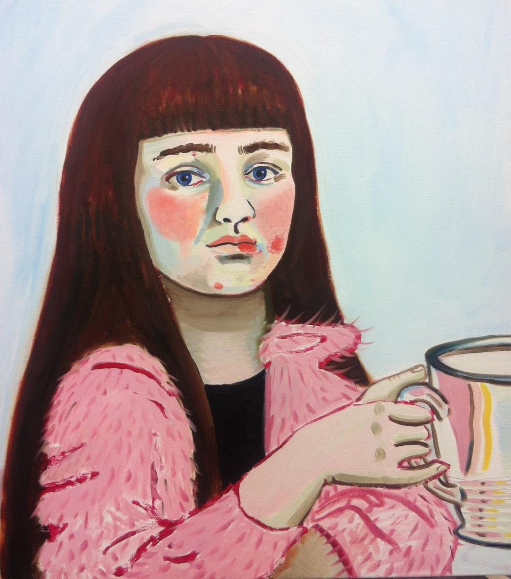 Self Portrait Reject (pink mohair cardi), 2013, Oil on canvas, 75cm x 60cm