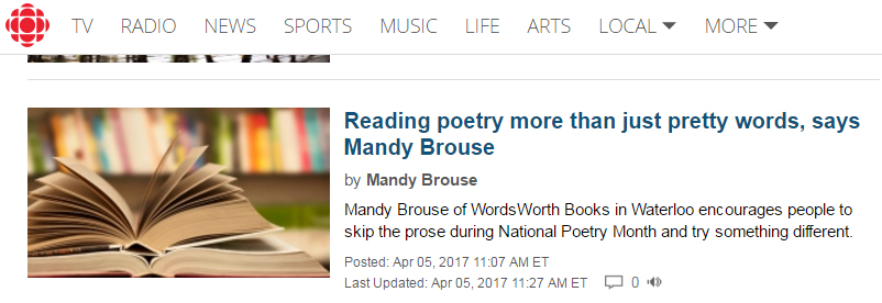 http://www.cbc.ca/news/canada/kitchener-waterloo/mandy-brouse-national-poetry-month-1.4056305