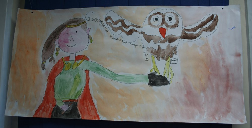 A wonderful painting of Gwenhwyfar by a child from Stawley Primary School, Somerset inspired by a local Arthurian story retold by Lucy Sloan, and read to the children during Marc Vyvyan-Jones' Illustrator Visit to the school.