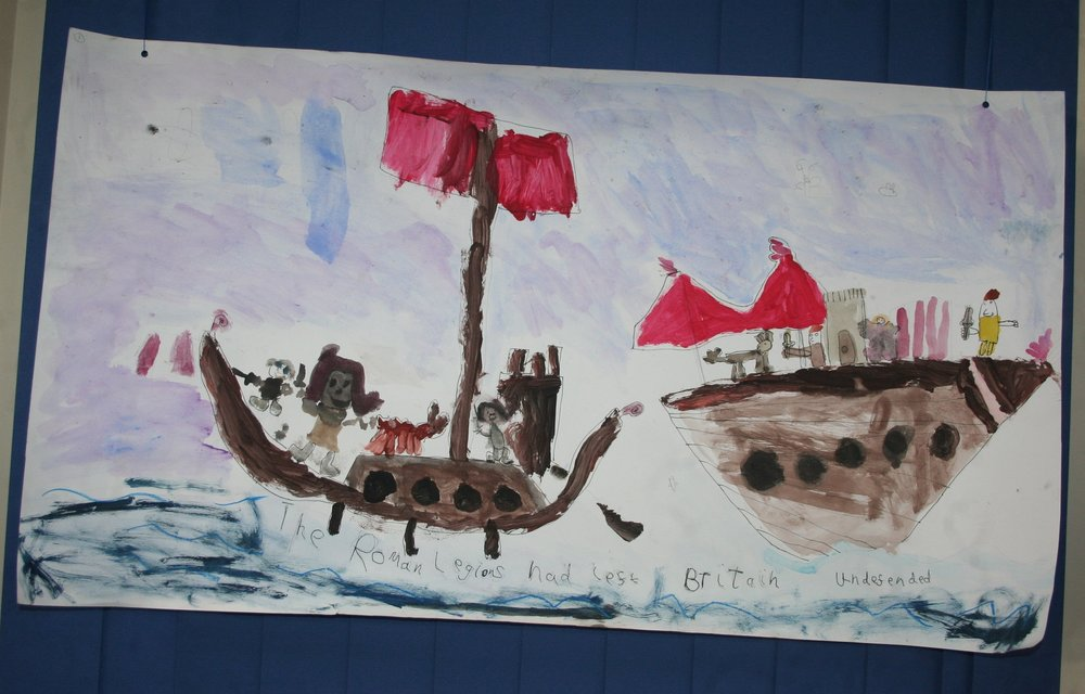 The Roman Legions leaving Britain undefended - another exciting image from The Stawley Tapestry which children from the primary school created with Marc Vyvyan-Jones during an Illustrator Visit.