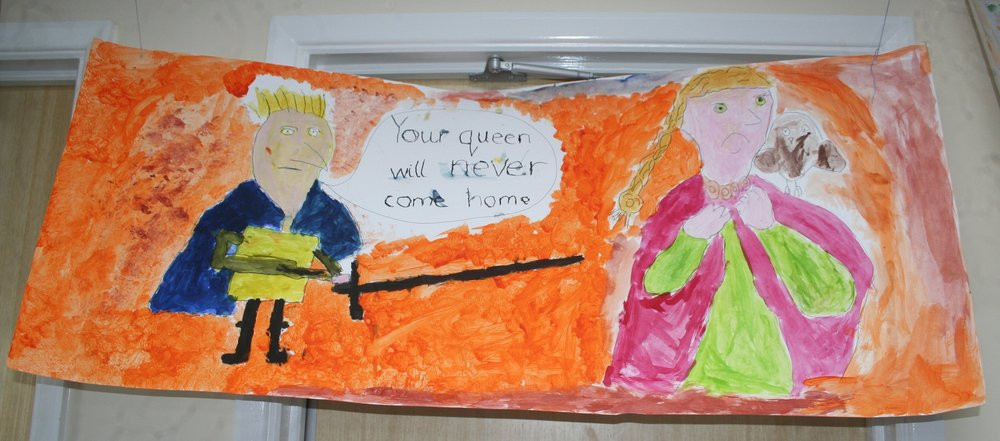 The children's paintings were hung all around the school hall to form The Stawley Tapestry.