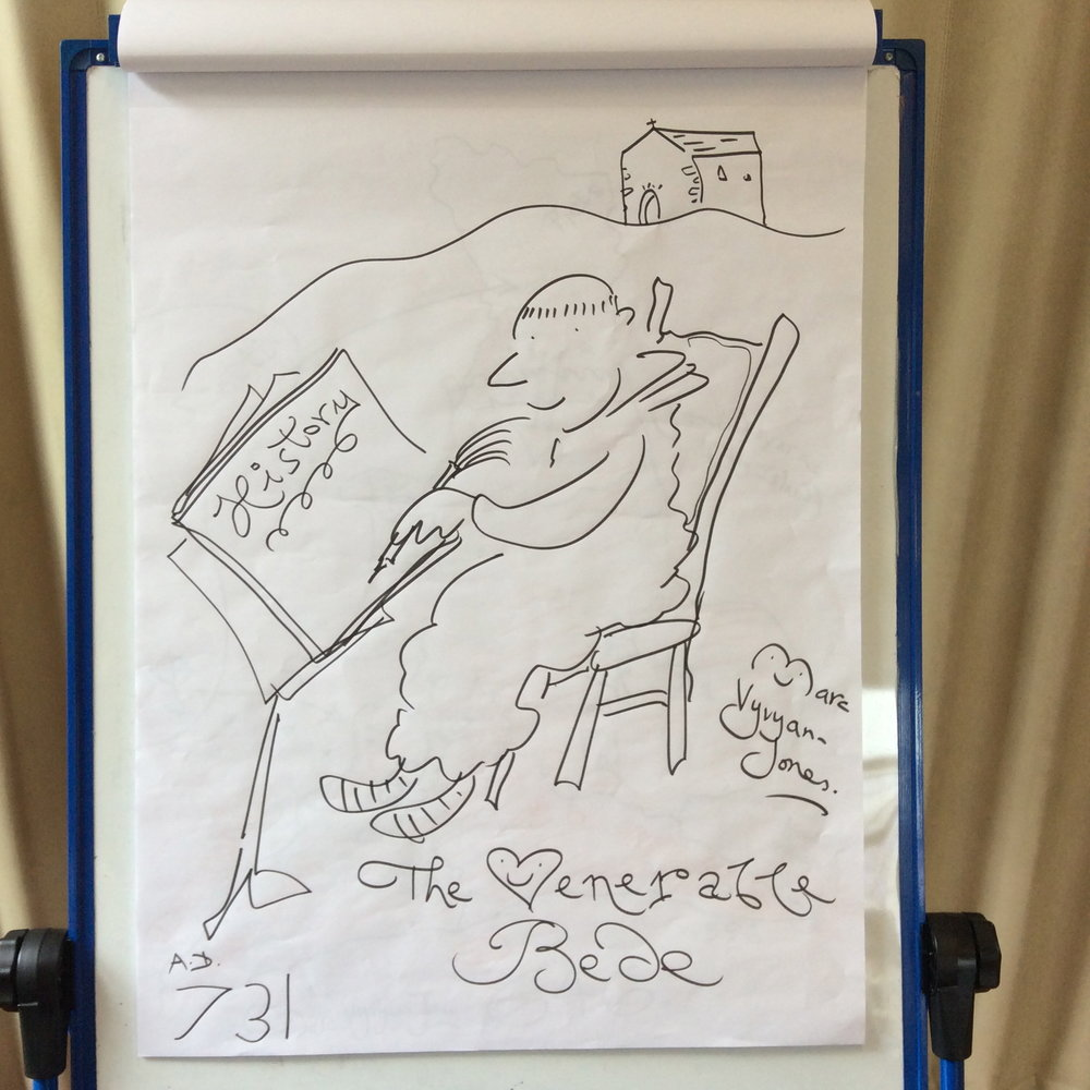 Flipchart art created during Marc Vyvyan-Jones' 'Draw like a Saxon' Illustrator Visit to Upton Noble Primary School - the Venerable Bede.