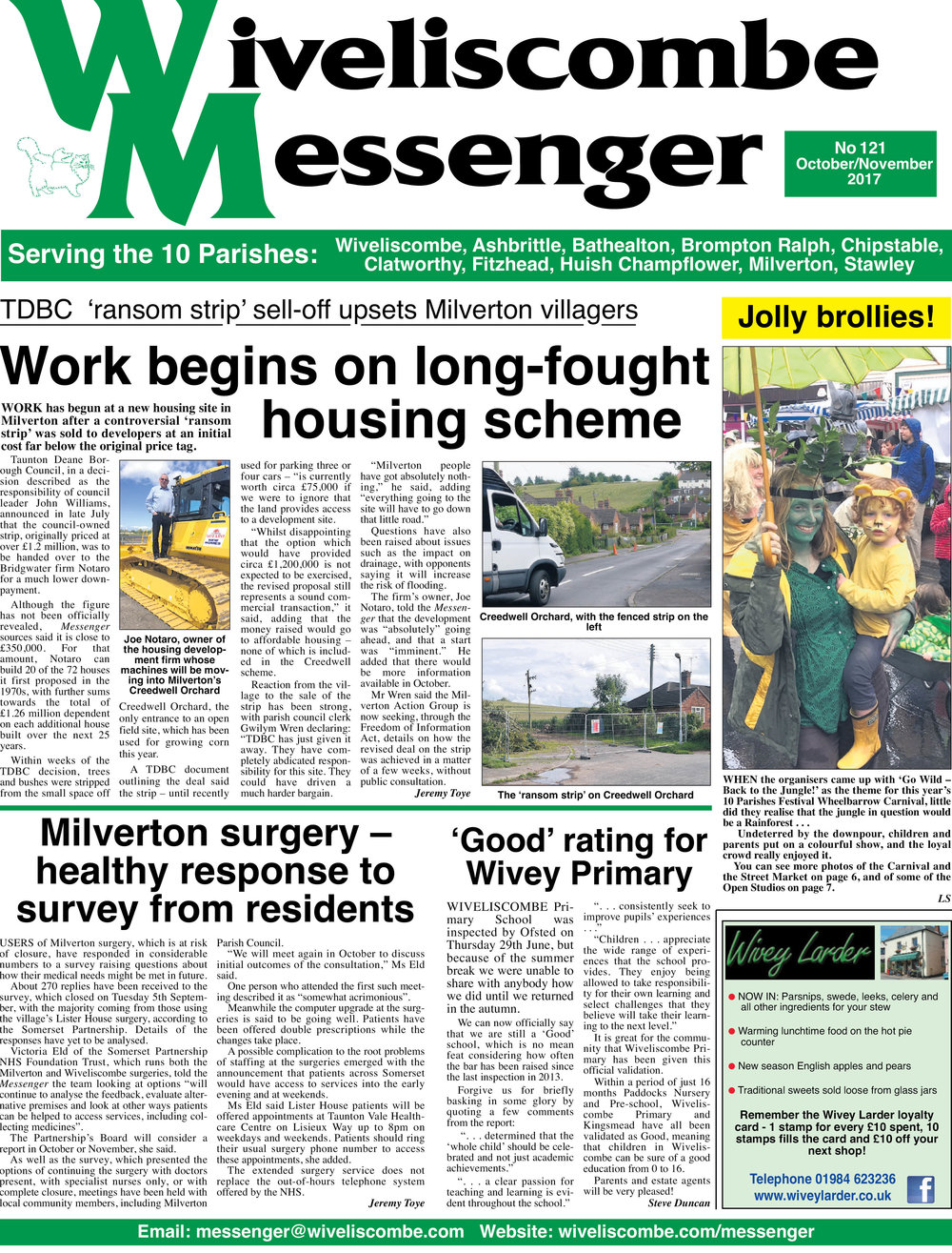 The front page of the latest edition of the  Wiveliscombe Messenger