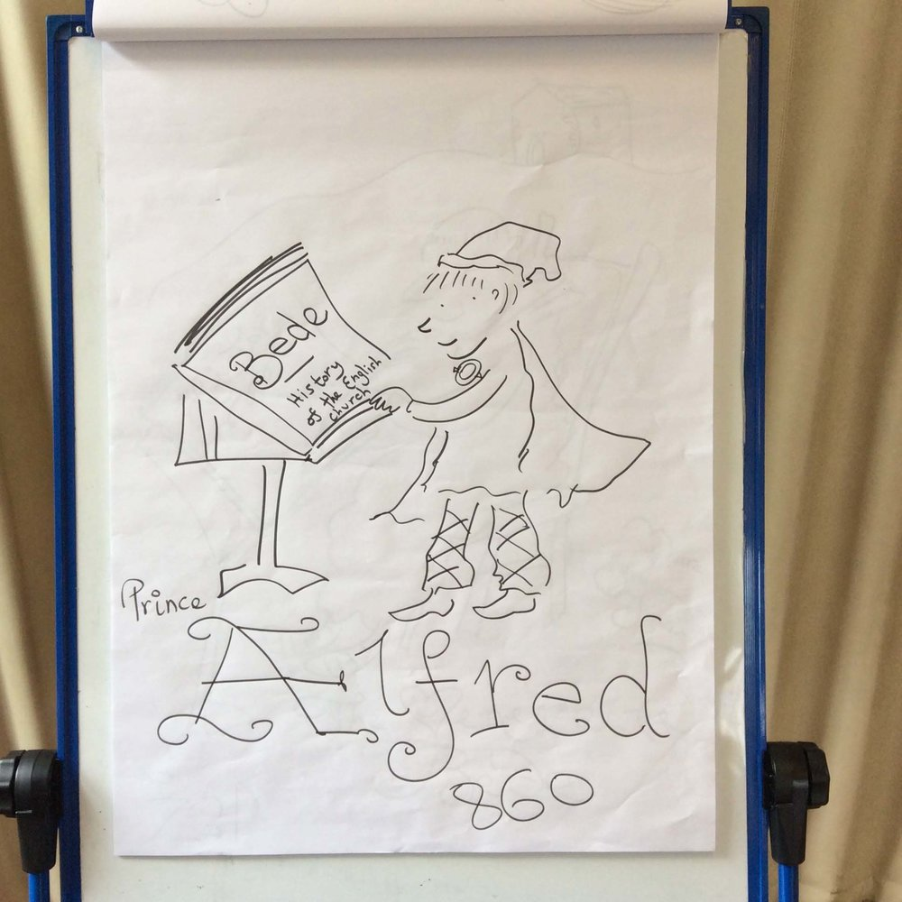 Flipchart art - the finished version of the young Alfred, reading Bede's pioneering  Historia Ecclesiastica Gentis Anglorum , completed in 731AD. Alfred loved books, and encouraged scholarship, writing, translation, illustration and the learning of Latin when he was King of Wessex.