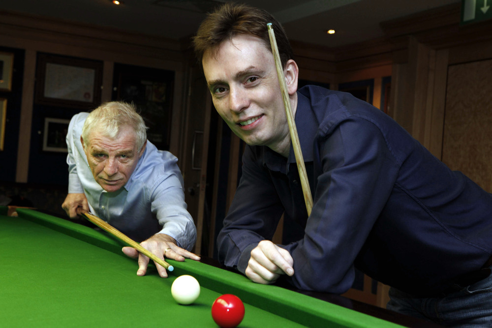 Journalist Eamon Dunphy with former world snooker champion Ken Doherty
