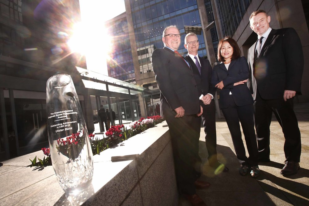 10/3/16 Chambers Ireland announces the opening for applications for the 2016 CSR Awards. The Awards recognise the positive work done by the business community for the benefit of their employees, the local community and the environment. Pictured are Tadhg Lucey (Director of CSR at BAM, Main Sponsor), Ian Talbot (CEO Chambers Ireland), Prof. Rosa Chun (UCD & Event Guest speaker), and Paul Stanley (Interim CEO of Ulster Bank, winners of the 2015 award), with the 2015 award.