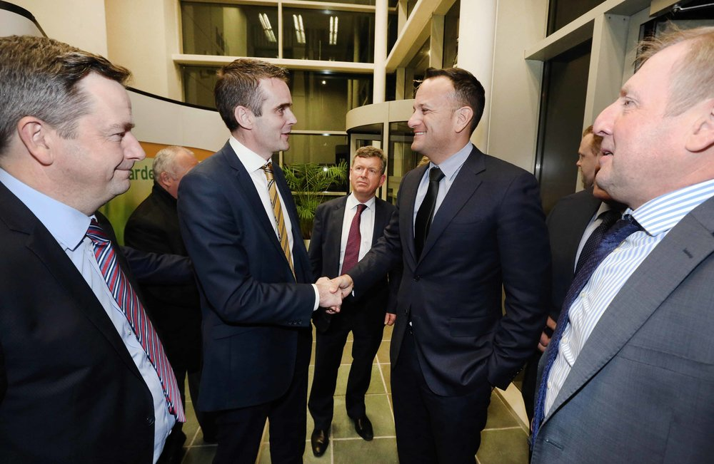 IFA President Joe Healy greets Taoiseach Leo Varadkar to the Farm Centre, flanked by IFA General Secretary Damian McDonald and Ministers for Agriculture Michael Creed.