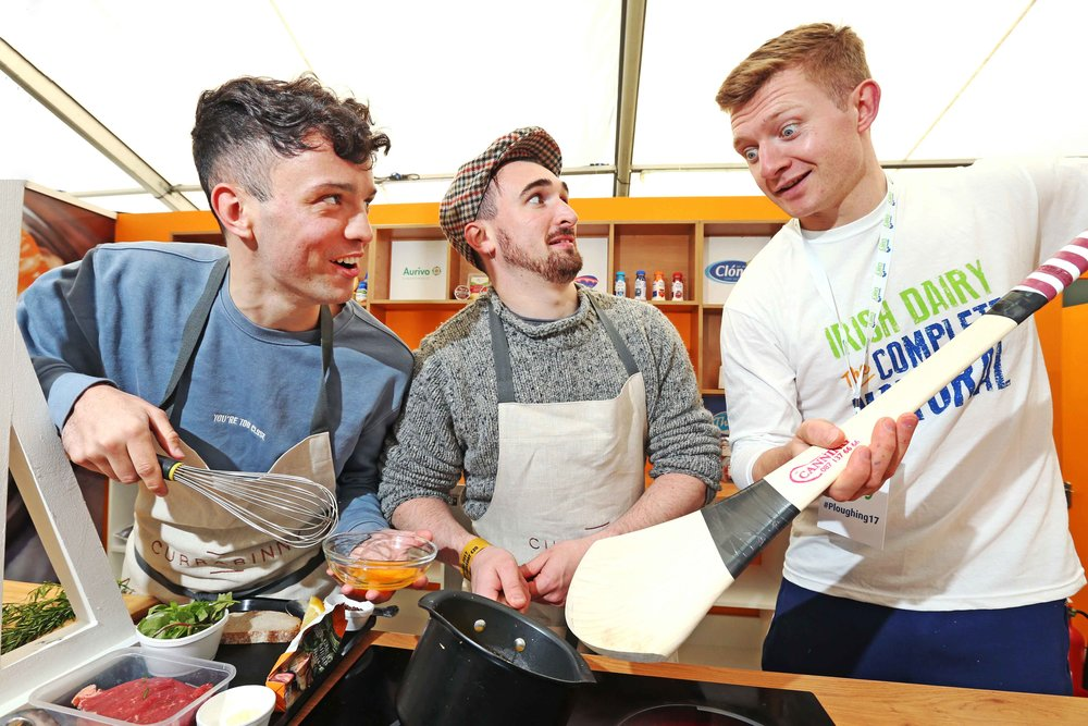 Joe Canning was cooking up a storm, even if he used his hurley, with Currabinny Chefs James Kavanagh and William Murray at the National Dairy Council stand at the National Ploughing Championships.