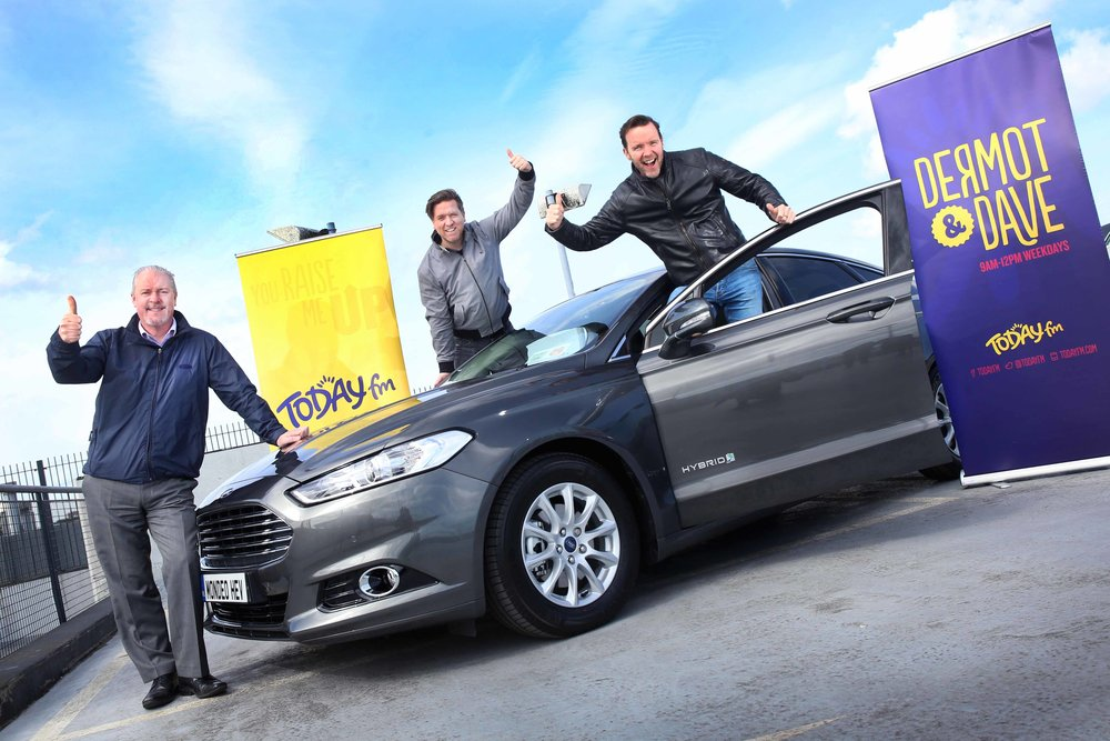Ciarán McMahon, Chairman and Managing Director of Ford Ireland, announces Ford as title sponsor of the hugely popular Dermot & Dave Show on Today FM.