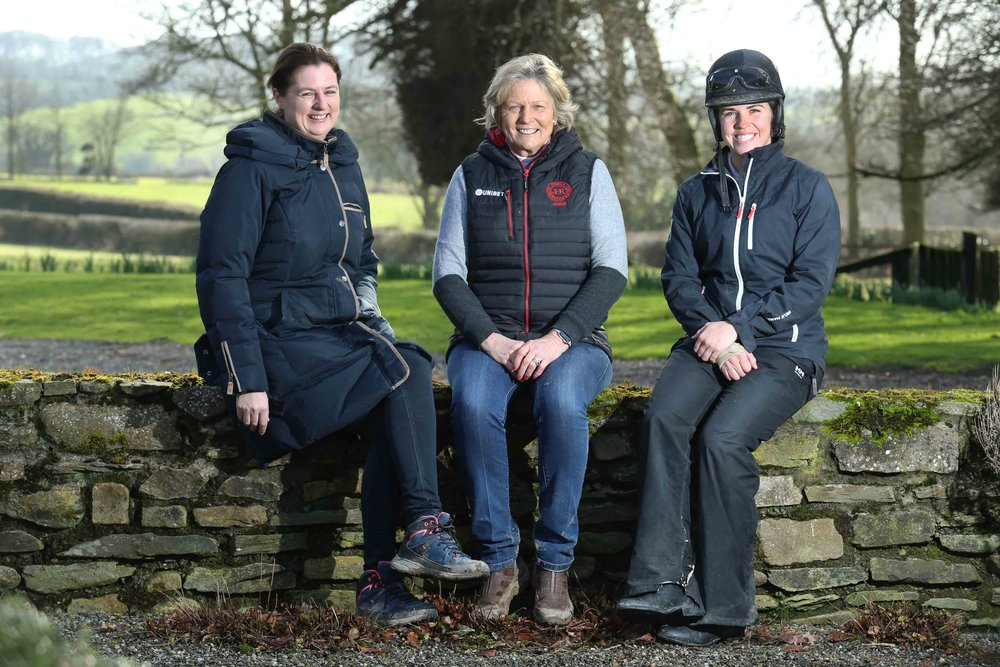 Trainer Jessica Harrington with daughters Emma and Kate of Commonstown Stud.