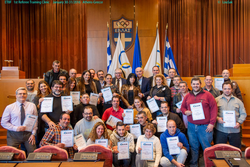 Participants of the 1st ETBF Referee Training Certification program Athens, Greece, 30-31 January 2016