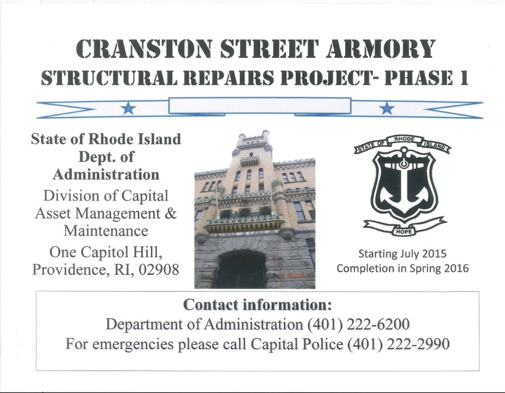 This sign which will be posted on three sides of the Cranston Street Armory shortly.