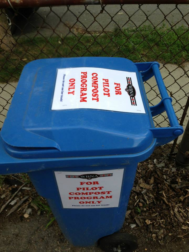 The original pilot WBNA Compost Program bins – now replaced with larger yellow ones!