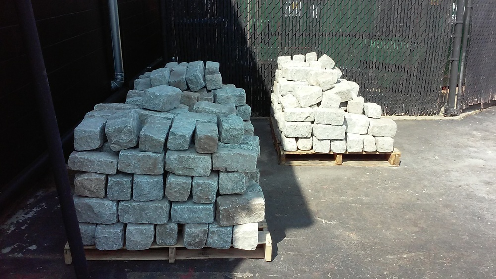 300 plus cobblestones donated by Old World Cobble, Waterson Terminal Services and ProvPort, and stored by JKL Engineering