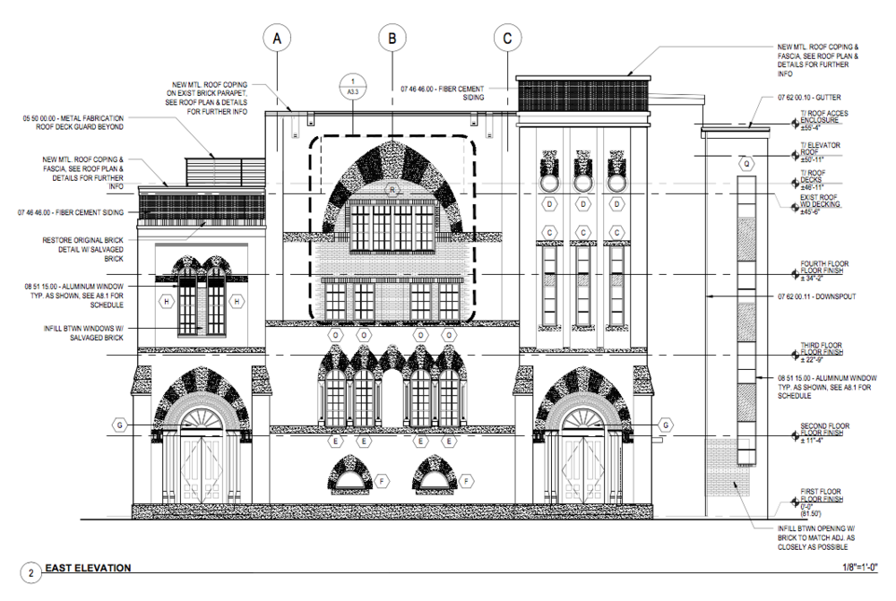 Plans for the east elevation (Harrison Street side) Provided for illustrative purposes only courtesy of Antonio Manaigo