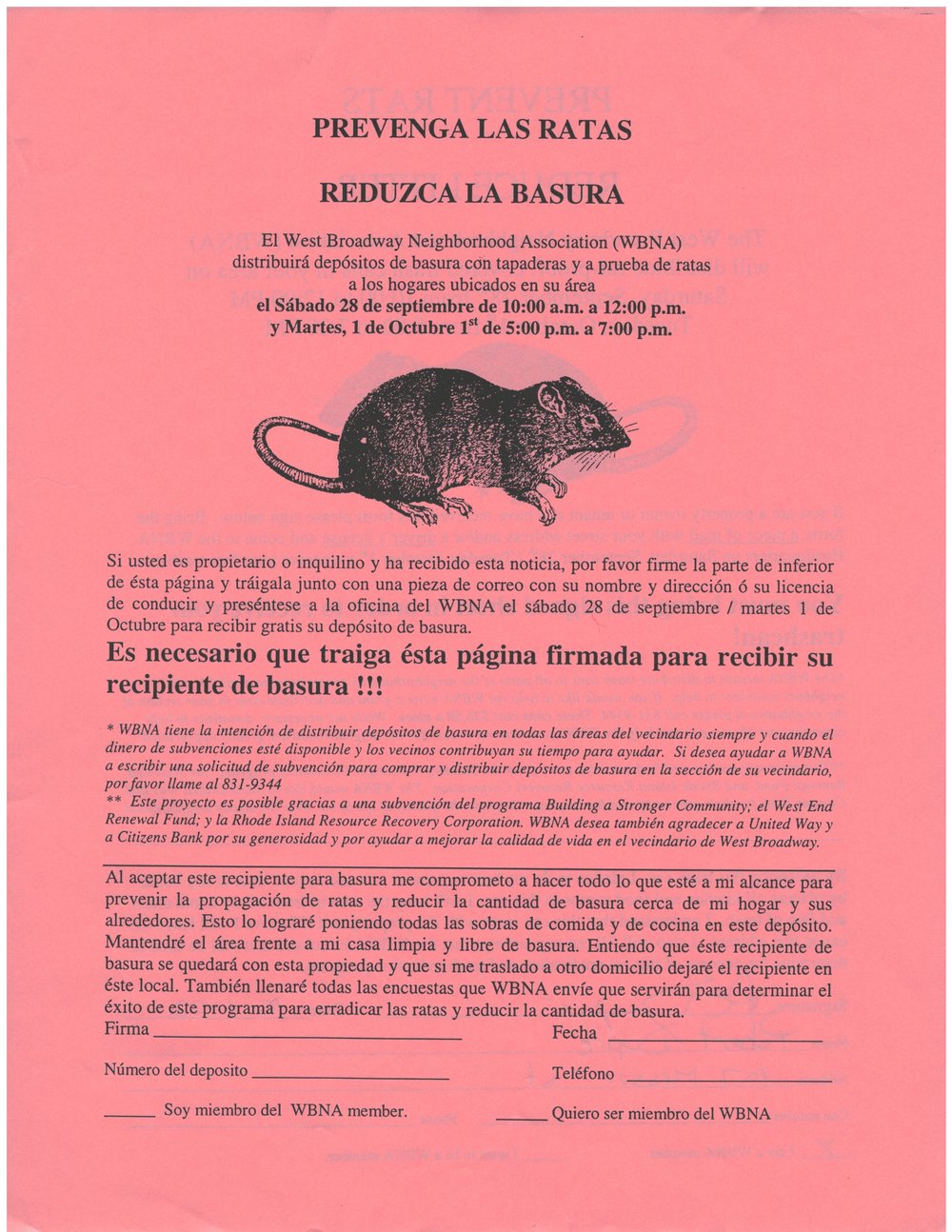 Rat-O-Rama volunteers went door to door distributing multi-lingual flyers and sign up forms to neighbors (2002)