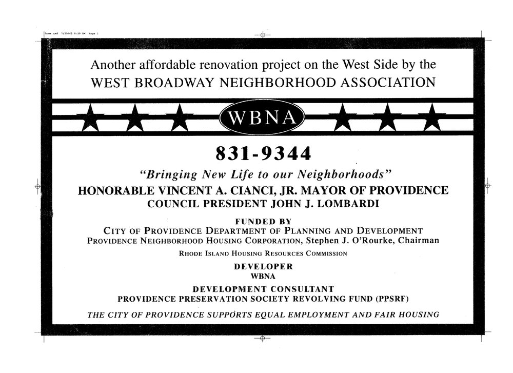 Sign during renovation citing City's support of affordable housing projects