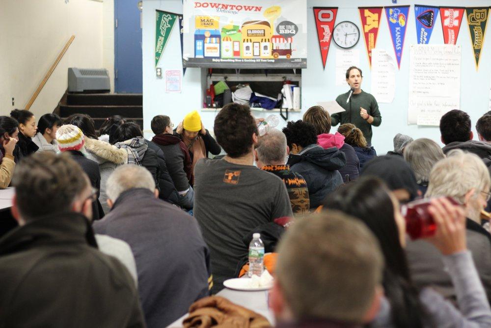 Board President Matt Gabor introduces WBNA's first Neighborhood Night