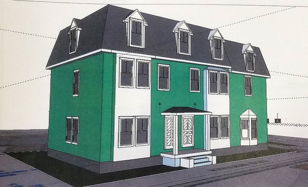3 unit building on Messer Street side of lot