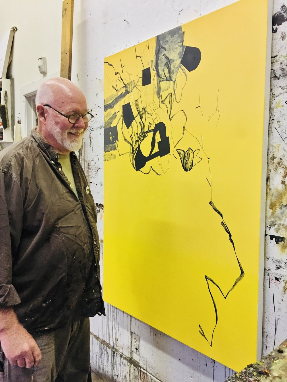 Artist David Frazer in his painting studio Photo by Barbra Revill