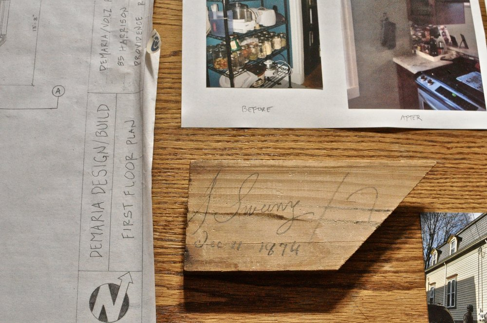 "Piece of trim found in a wall on Harrison Street, dated 1874 and signed ""J. Sweeney"" Photo by Barbra Revill"