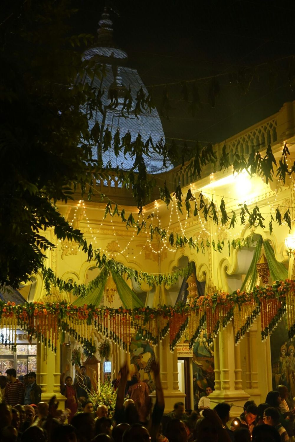 Decorations adorn a temple in Vrindavan to celebrate Kartik