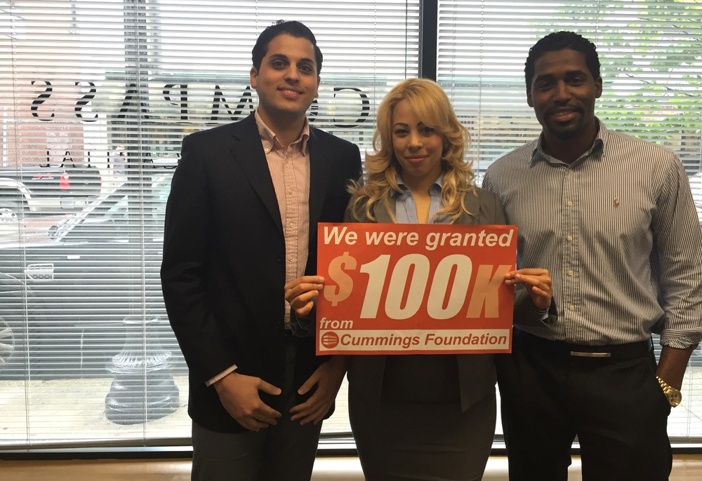 Pictured: The Compass Team in Lynn - Carlos Langa, Sandra Suarez, and Edinson Corporan - celebrating a grant of $100,000 from Cummings Foundation in support of our Lynn FSS Program.