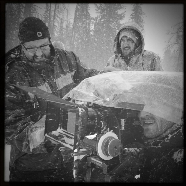 John (under the camera cover) directing and shooting Gold Fever