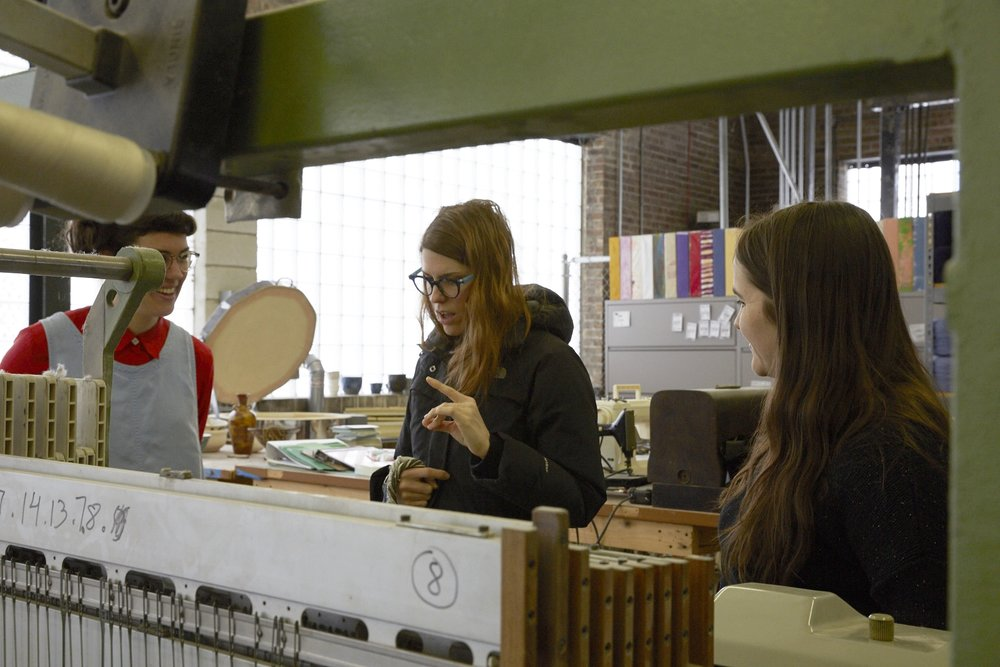 Photo By Jennifer Marx, 2016. Discussing weaving issues with The April Blanket at The Weaving Mill in Chicago, IL. Emily Winter left, Dee Clements Middle, Matti Sloman right.