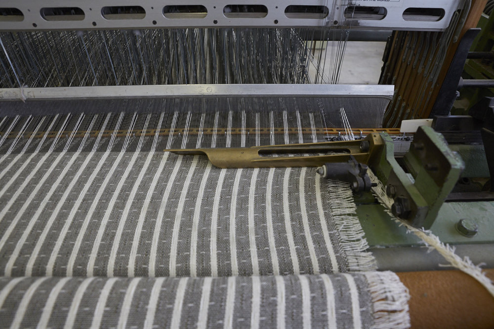 Photo By Jennifer Marx, 2016. Documenting Herron blanket production at The Weaving Mill in Chicago, IL. One the loom: April Blankets