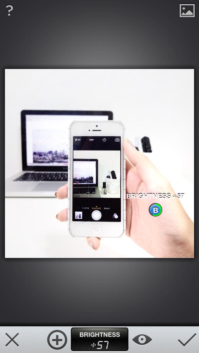 Snapseed: Hand is brightened (+57)usingSelective Adjust