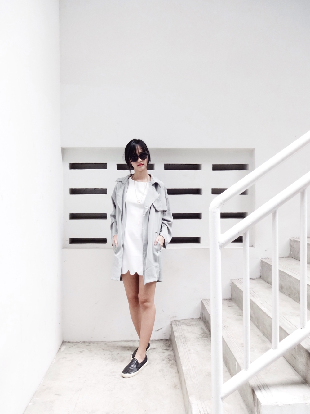 On me: Young Hungry Free grey parka,H&M shades, RoyalJunk white scallop dress, Topshop slip ons, Daniel Wellington watch