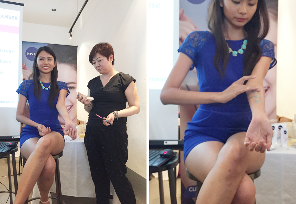 NIVEA Make Up Clear Launch: Xin Lin demonstrating the effectiveness of the NIVEA Make Up Clear 3-in-1 Mud Cleanser