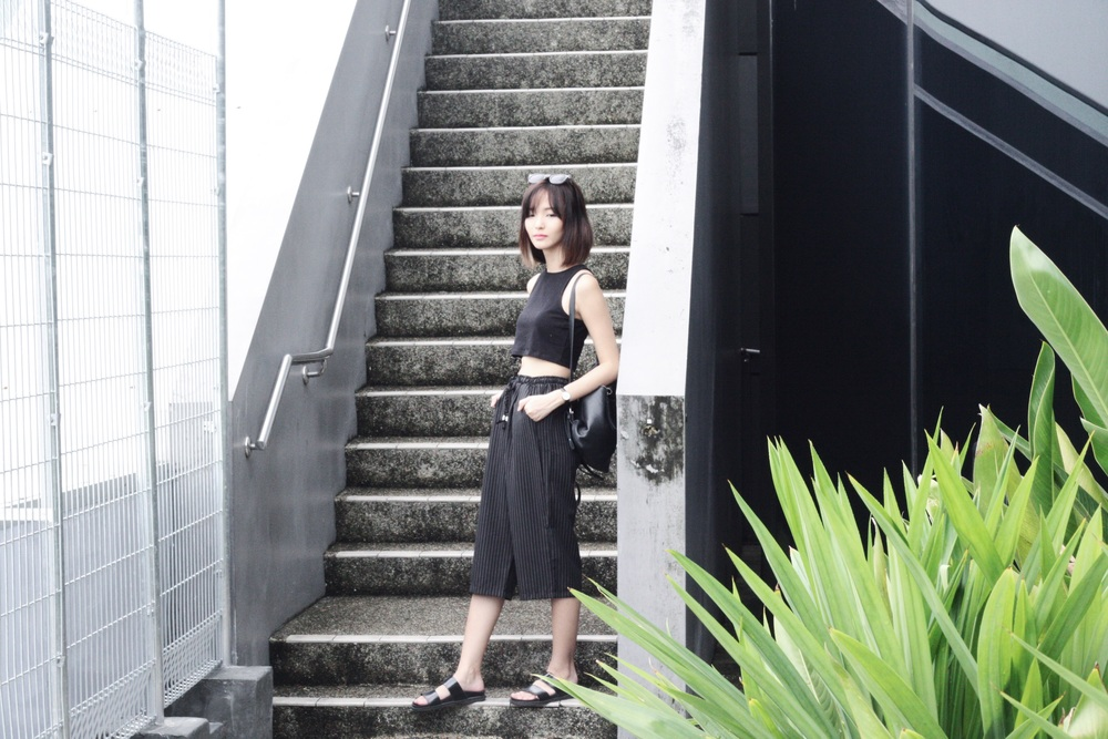 H&M cropped top,  Ashincans  drawstring pinstripe culottes, Zara slides, F21 shades