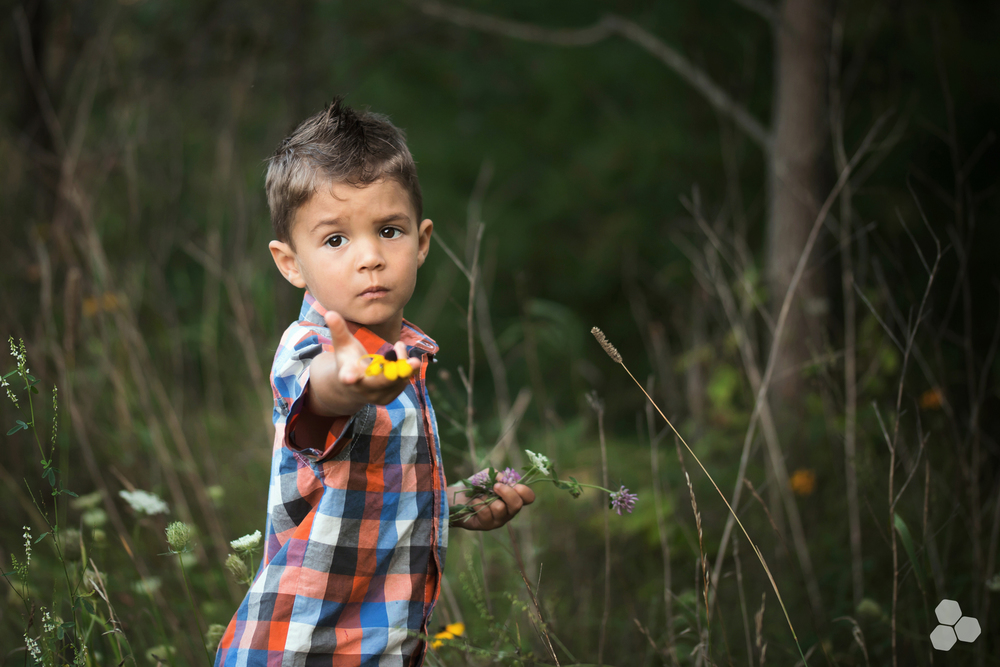 Picking flowers for his Mama.