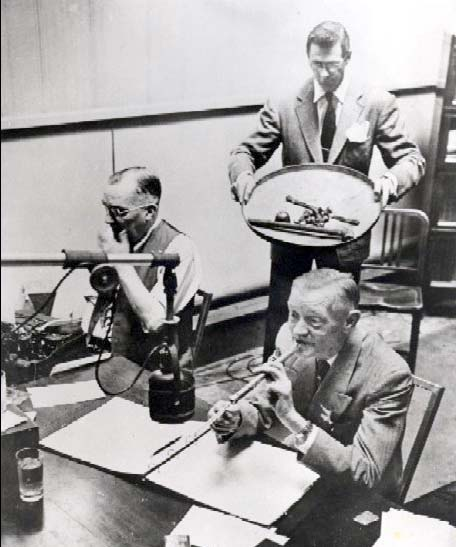 Radio broadcasters recreated baseball games in their studios from information received by telegraphy transmission. (Courtesy of the National Baseball Hall of Fame Library)