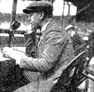 At the Polo Grounds, New York, in 1921. G. A. Falzer, gives a  play-by-play account of the game over the phone which was recreated in the radio station studios and broadcast.   (Courtesy of EarlyRadioHistory.us)