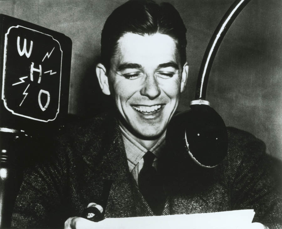 Ronald Reagan was a WHO Radio Announcer in Des Moines, Iowa. Ca. 1934. As part of his broadcasts he would call Chicago Cubs and White Sox games. (Courtesy of the National Archives)